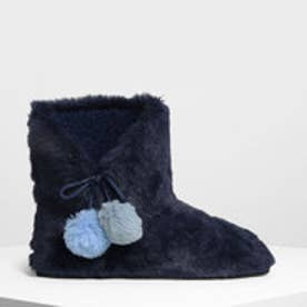 ファー ポンポン ブーツ / Furry Pom Pom Boots (Dark Blue)