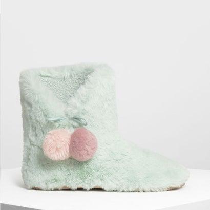 ファー ポンポン ブーツ / Furry Pom Pom Boots (Mint Green)