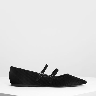 ダブルメリージェーン フラット / Double Mary Jane Flats (Black)