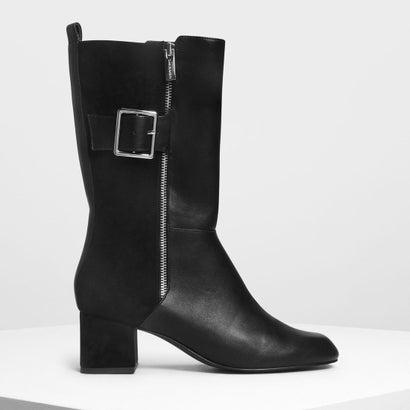 バックルディテール カフブーツ / Buckle Detail Calf Boots (Black)