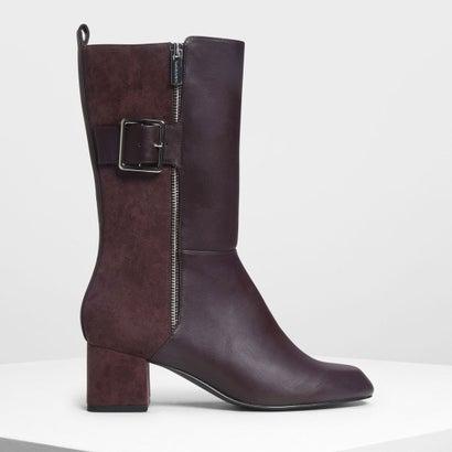 バックルディテール カフブーツ / Buckle Detail Calf Boots (Purple)