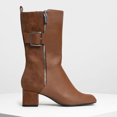 バックルディテール カフブーツ / Buckle Detail Calf Boots (Cognac)