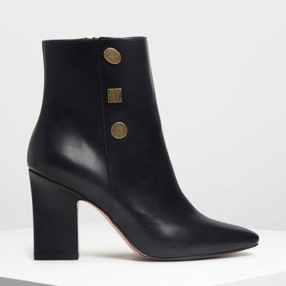 ビンテージボタンディテール カフブーツ / Vintage Button Detail Calf Boots (Black)