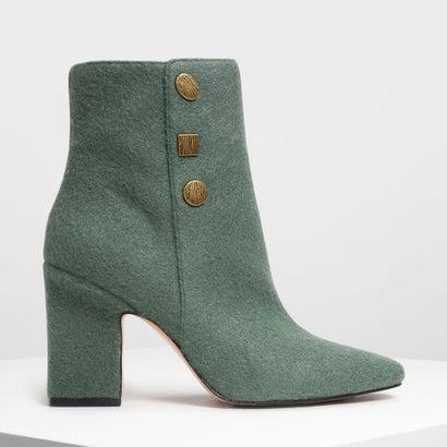 ビンテージボタンディテール カフブーツ / Vintage Button Detail Calf Boots (Green)