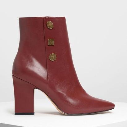 ビンテージボタンディテール カフブーツ / Vintage Button Detail Calf Boots (Burgundy)