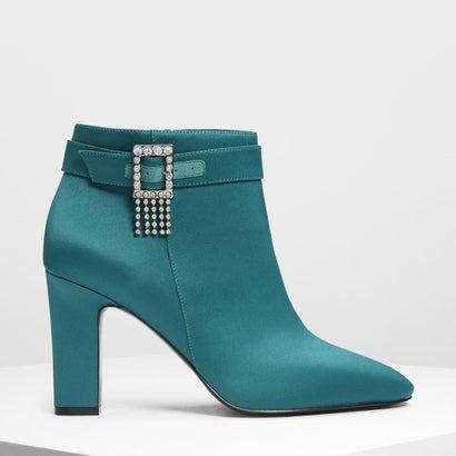 クリスタルエンベリッシュ バックルブーツ / Crystal Embellished Buckle Boots (Green)