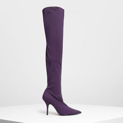 ポインテッド サイハイブーツ / Pointed Thigh High Boots (Prune)