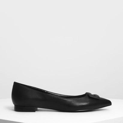 ラップ バックルディテールバレリーナ / Wrapped Buckle Detail Ballerinas (Black)