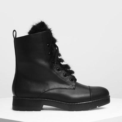 ファーディテール コンバットブーツ / Furry Detail Combat Boots (Black)