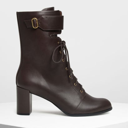 バックルディテール レースアップカフブーツ / Buckle Detail Laced Up Calf Boots (Dark Brown)