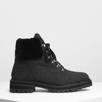 スピードレーシングディテール ハイキングブーツ / Speed Lacing Detail Hiking Boots (Dark Grey)