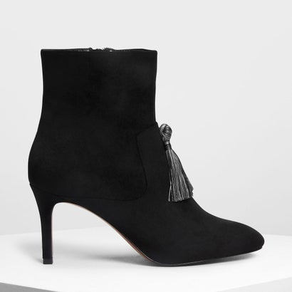 タッセルディテール カフブーツ / Tassel Detail Calf Boots (Black)