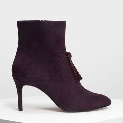 タッセルディテール カフブーツ / Tassel Detail Calf Boots (Purple)