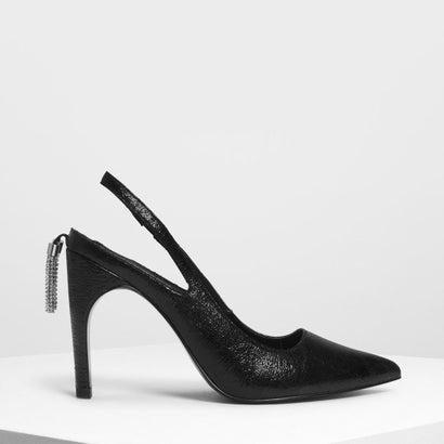 クリスタルタッセルディテールスリングバック / Crystal Tassel Detail Slingbacks (Black)