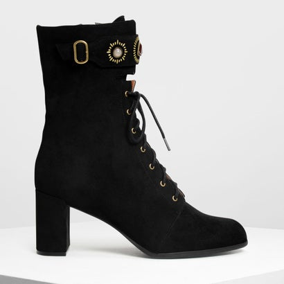 バックルディテール レースアップカフブーツ / Buckle Detail Laced Up Calf Boots (Black)