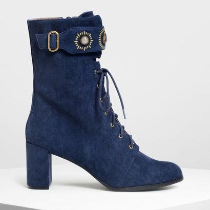 バックルディテール レースアップカフブーツ / Buckle Detail Laced Up Calf Boots (Dark Blue)