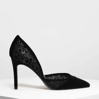 ベルベットフロッキングポインテッドパンプス / Velvet Flocking Pointed Pumps (Black)