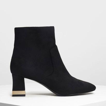 メタリックアクセント ヒールブーツ / Metallic Accent Heel Boots (Black)