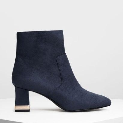 メタリックアクセント ヒールブーツ / Metallic Accent Heel Boots (Dark Blue)
