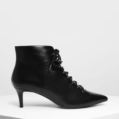 スピードレーシングディテール ポインテッドブーツ / Speed Lacing Detail Pointed Boots (Black)