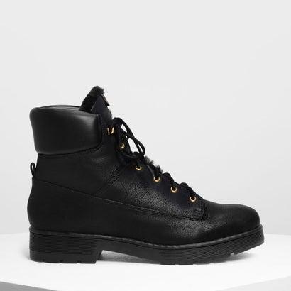 ファーリーカフ レースアップブーツ / Furry Cuff Laced Up Boots (Black)