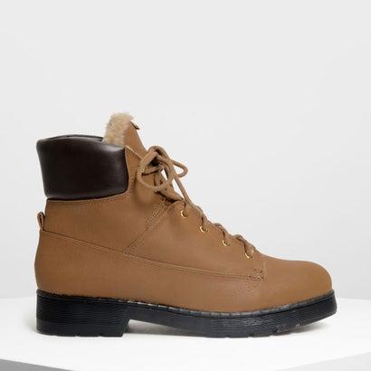 ファーリーカフ レースアップブーツ / Furry Cuff Laced Up Boots (Cognac)