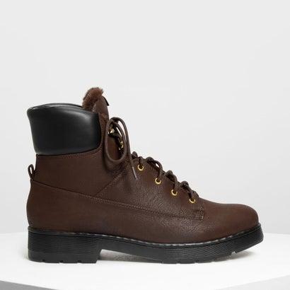 ファーリーカフ レースアップブーツ / Furry Cuff Laced Up Boots (Dark Brown)