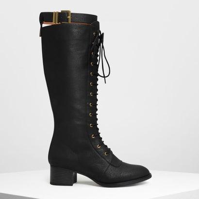 レースアップ ニーブーツ / Laced Up Knee Boots (Black)