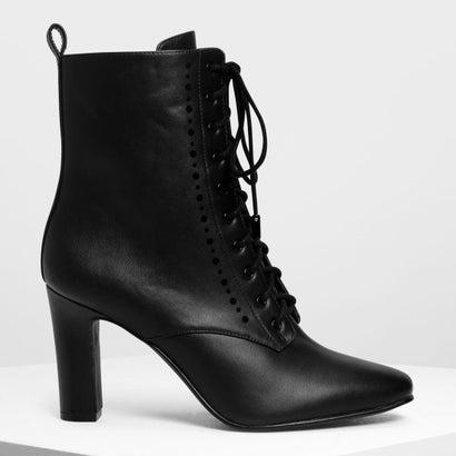 レースアップ カフブーツ / Laced Up Calf Boots (Black)