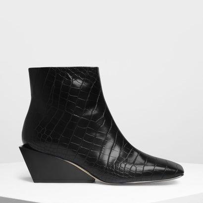 スクエアトゥ ウエッジブーツ / Square Toe Wedge Boots (Black Textured)