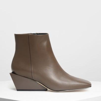 スクエアトゥ ウエッジブーツ / Square Toe Wedge Boots (Military Green)