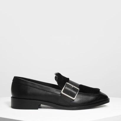 バックルファーリーディテール ローファー / Buckled Furry Detail Loafers (Black)