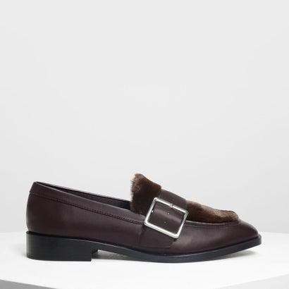 バックルファーリーディテール ローファー / Buckled Furry Detail Loafers (Purple)
