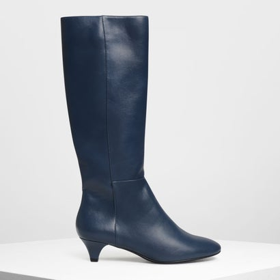 キトゥンヒール ニーブーツ / Kitten Heel Knee Boots (Dark Blue)