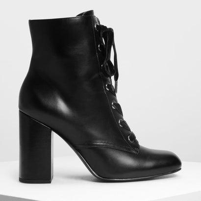 ブロックヒール レースアップブーツ / Block Heel Laced Up Boots (Black)