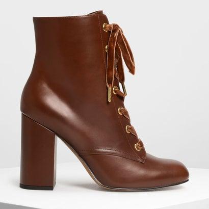 ブロックヒール レースアップブーツ / Block Heel Laced Up Boots (Cognac)