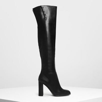 スタッズディテール  サイハイブーツ / Stud Detail Thigh High Boots (Black)