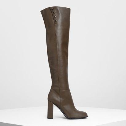 スタッズディテール  サイハイブーツ / Stud Detail Thigh High Boots (Military Green)