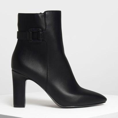 ラップドバックルディテール カーフブーツ / Wrapped Buckle Detail Calf Boots (Black)