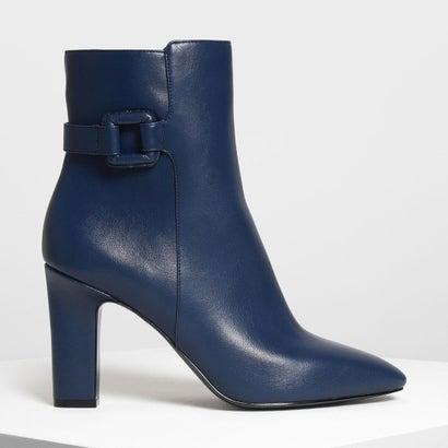 ラップドバックルディテール カーフブーツ / Wrapped Buckle Detail Calf Boots (Dark Blue)
