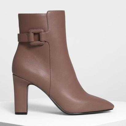 ラップドバックルディテール カーフブーツ / Wrapped Buckle Detail Calf Boots (Mauve)