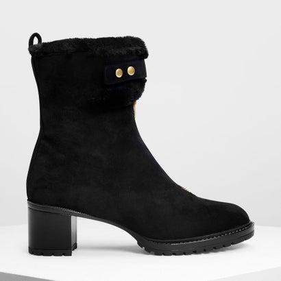 ファーリーカフ カーフブーツ / Furry Cuff Calf Boots (Black)