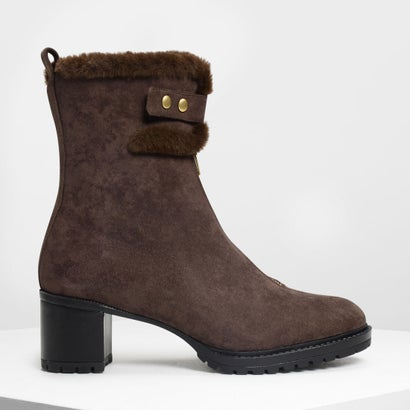 ファーリーカフ カーフブーツ / Furry Cuff Calf Boots (Dark Brown)