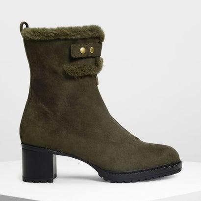 ファーリーカフ カーフブーツ / Furry Cuff Calf Boots (Olive)
