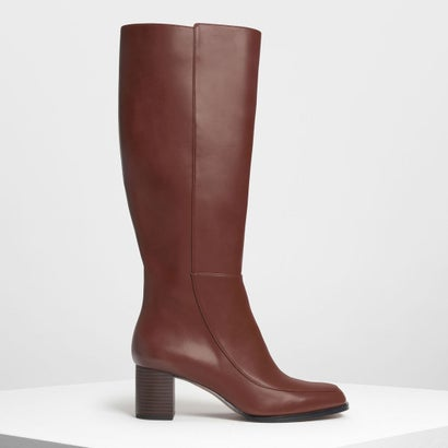 ブロックヒール ニーブーツ / Block Heel Knee Boots (Cognac)