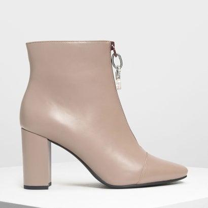 ジッパー カーフブーツ / Zipper Calf Boots (Taupe)
