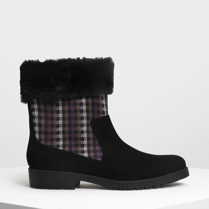 ファーリー カフプリントブーツ / Furry Cuff Printed Boots (Black)