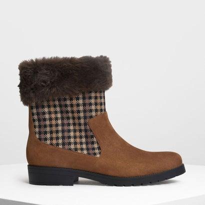 ファーリー カフプリントブーツ / Furry Cuff Printed Boots (Cognac)