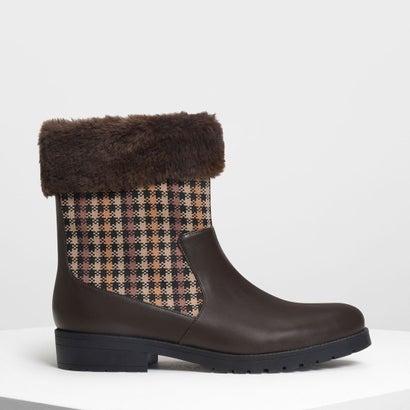 ファーリー カフプリントブーツ / Furry Cuff Printed Boots (Dark Brown)