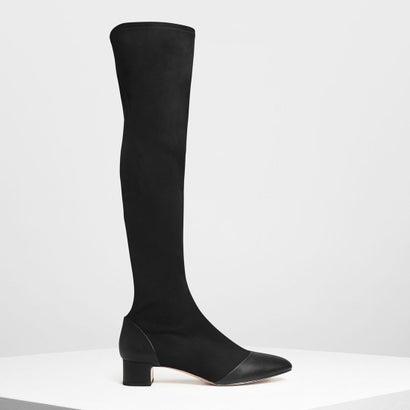 ブロックヒール ニーブーツ / Block Heel Knee Boots (Black)